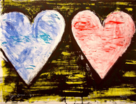 Two Hearts At Sunset, By Artist Jim Dine